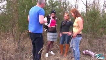 Slutty ebony chick with clips on her nipples fucked outdoors